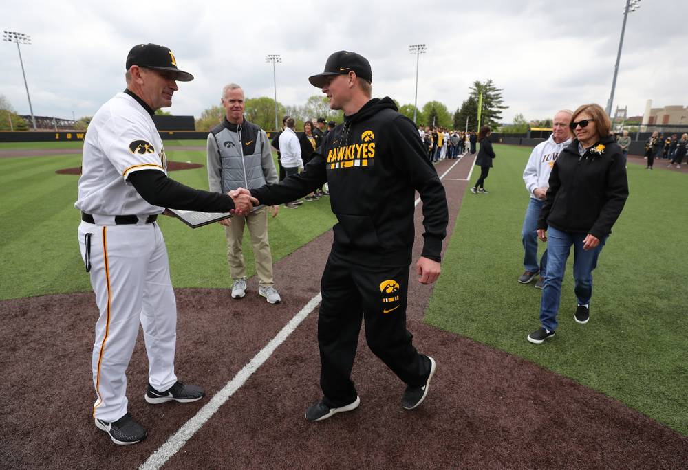 Student Manager  T.J. Feldman during senior day festivities before their game against Michigan State Sunday, May 12, 2019 at Duane Banks Field. (Brian Ray/hawkeyesports.com)