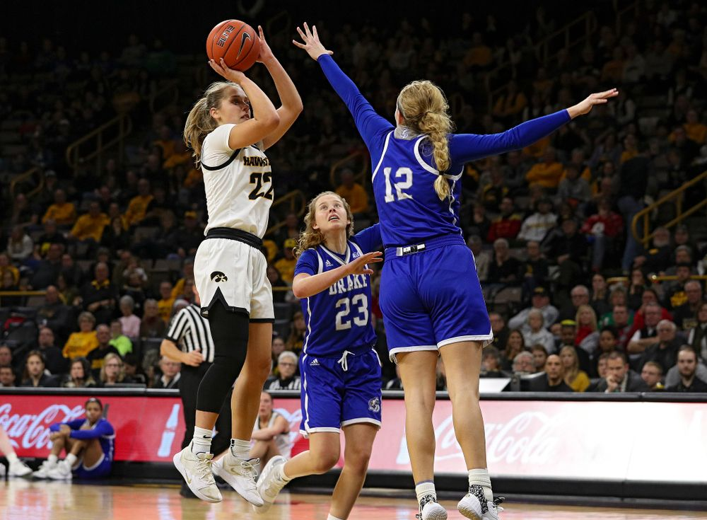 Iowa Hawkeyes guard Kathleen Doyle (22) puts up a shot during the third quarter of their game at Carver-Hawkeye Arena in Iowa City on Saturday, December 21, 2019. (Stephen Mally/hawkeyesports.com)