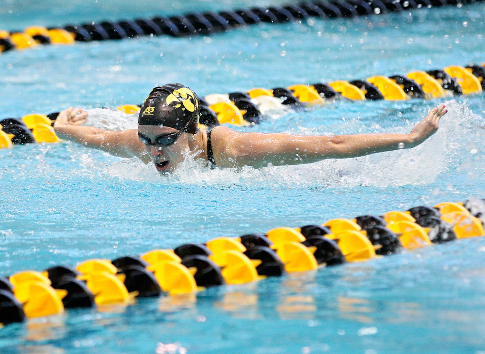 Iowa's Meghan Hackett swims the women's 100 yard butterfly preliminary event during the 2020 Women's Big Ten Swimming and Diving Championships at the Campus Recreation and Wellness Center in Iowa City on Friday, February 21, 2020. (Stephen Mally/hawkeyesports.com)