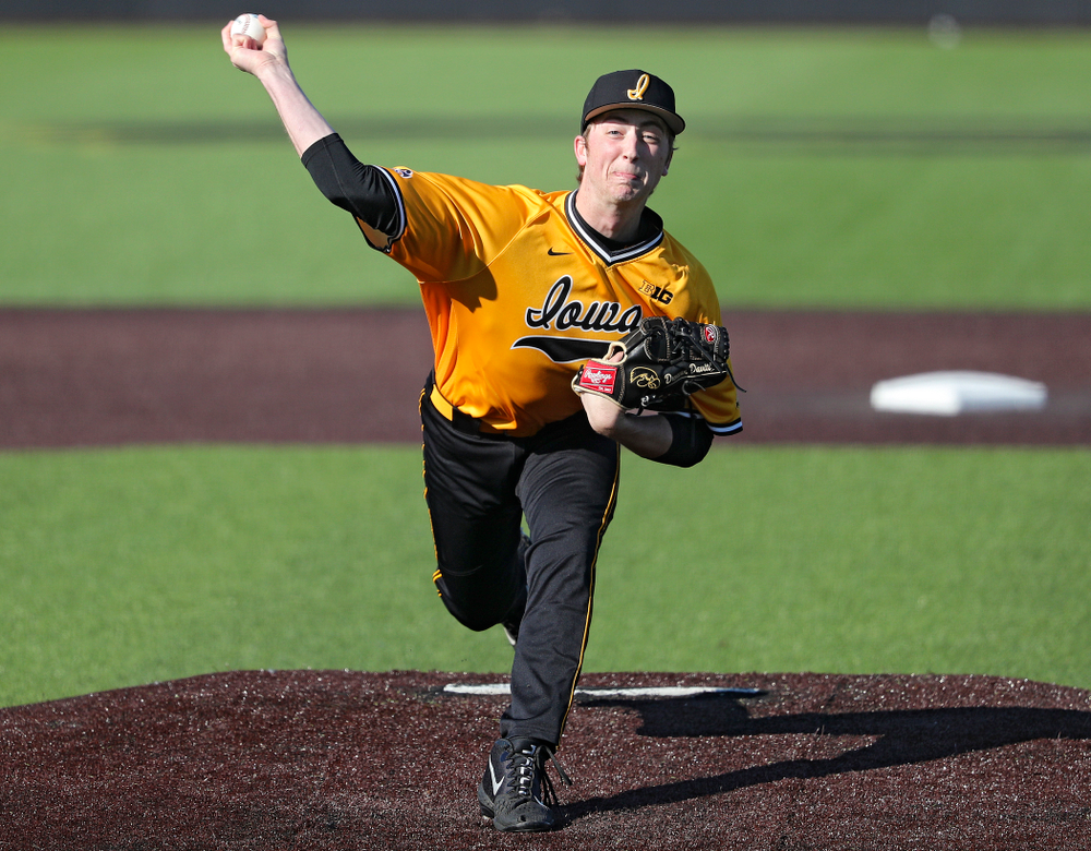Iowa Hawkeyes pitcher Duncan Davitt (44) delivers to the plate during the fourth inning of their game at Duane Banks Field in Iowa City on Tuesday, Apr. 2, 2019. (Stephen Mally/hawkeyesports.com)
