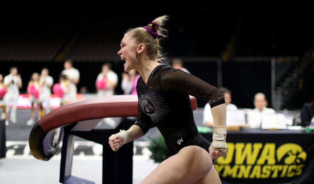 Iowa's Allyson Steffensmeier competes on the vault against Michigan Friday, February 14, 2020 at Carver-Hawkeye Arena. (Brian Ray/hawkeyesports.com)