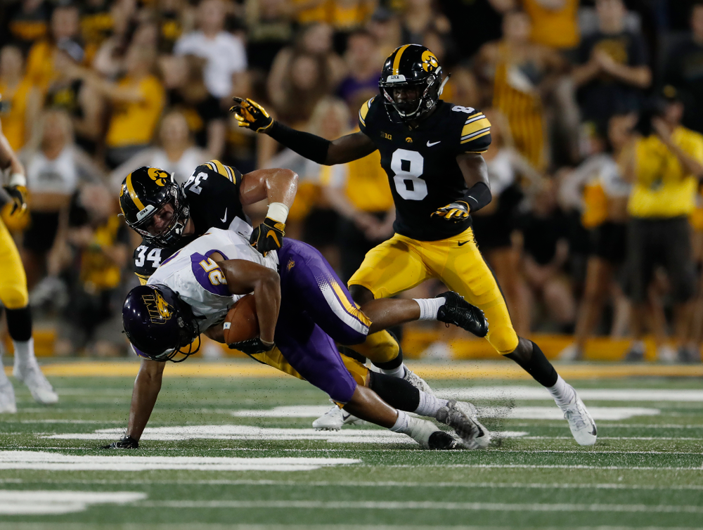 Iowa Hawkeyes linebacker Kristian Welch (34) against the Northern Iowa Panthers Saturday, September 15, 2018 at Kinnick Stadium. (Brian Ray/hawkeyesports.com)