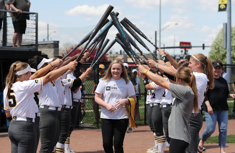 Senior Student Assistant Coach Brooke Rozier  during senior day festivities following their game against the Ohio State Buckeyes Sunday, May 5, 2019 at Pearl Field. (Brian Ray/hawkeyesports.com)ic