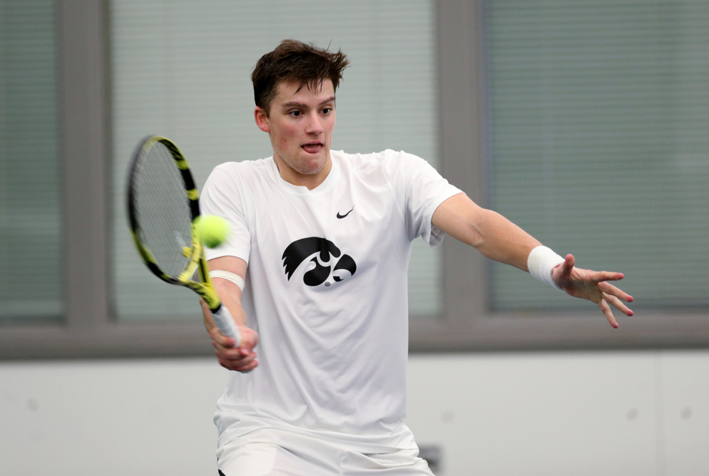 Iowa's Joe Tyler against Cornell Sunday, March 8, 2020 at the Hawkeye Tennis and Recreation Center. (Brian Ray/hawkeyesports.com)