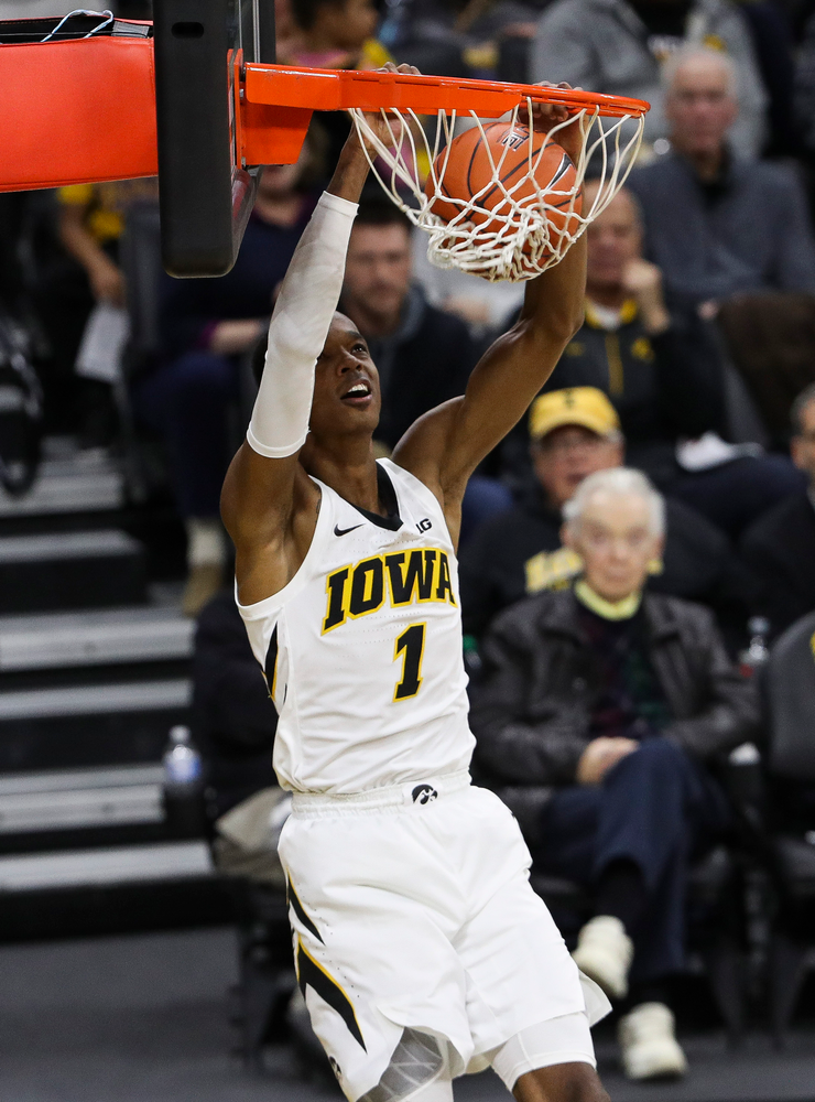 Iowa Hawkeyes guard Maishe Dailey (1) dunks the ball during a game against Alabama State at Carver-Hawkeye Arena on November 21, 2018. (Tork Mason/hawkeyesports.com)