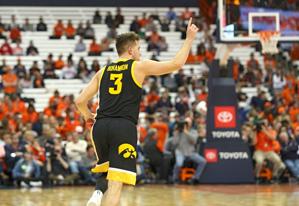 Iowa Hawkeyes guard Jordan Bohannon (3) runs down the court after mkaing a 3-pointer during the second half of their ACC/Big Ten Challenge game at the Carrier Dome in Syracuse, N.Y. on Tuesday, Dec 3, 2019. (Stephen Mally/hawkeyesports.com)
