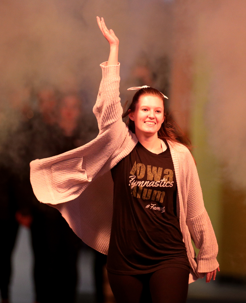 Gymhawk alumnus Kadi Knuth is introduced before the Iowa Hawkeyes meet against Michigan State Saturday, February 1, 2020 at Carver-Hawkeye Arena. (Brian Ray/hawkeyesports.com)