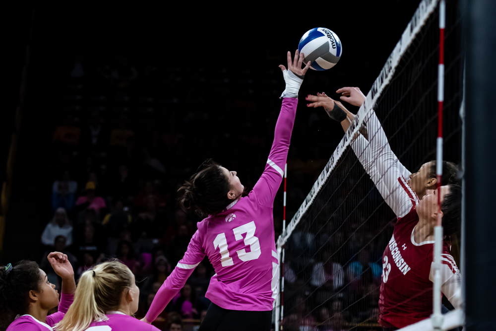 Iowa Hawkeyes middle blocker Sarah Wing (13) against the Wisconsin Badgers Saturday, October 6, 2018 at Carver-Hawkeye Arena. (Clem Messerli/Iowa Sports Pictures)