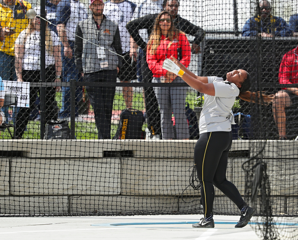 Iowa's Nia Britt throws during the women's hammer throw event on the first day of the Big Ten Outdoor Track and Field Championships at Francis X. Cretzmeyer Track in Iowa City on Friday, May. 10, 2019. (Stephen Mally/hawkeyesports.com)