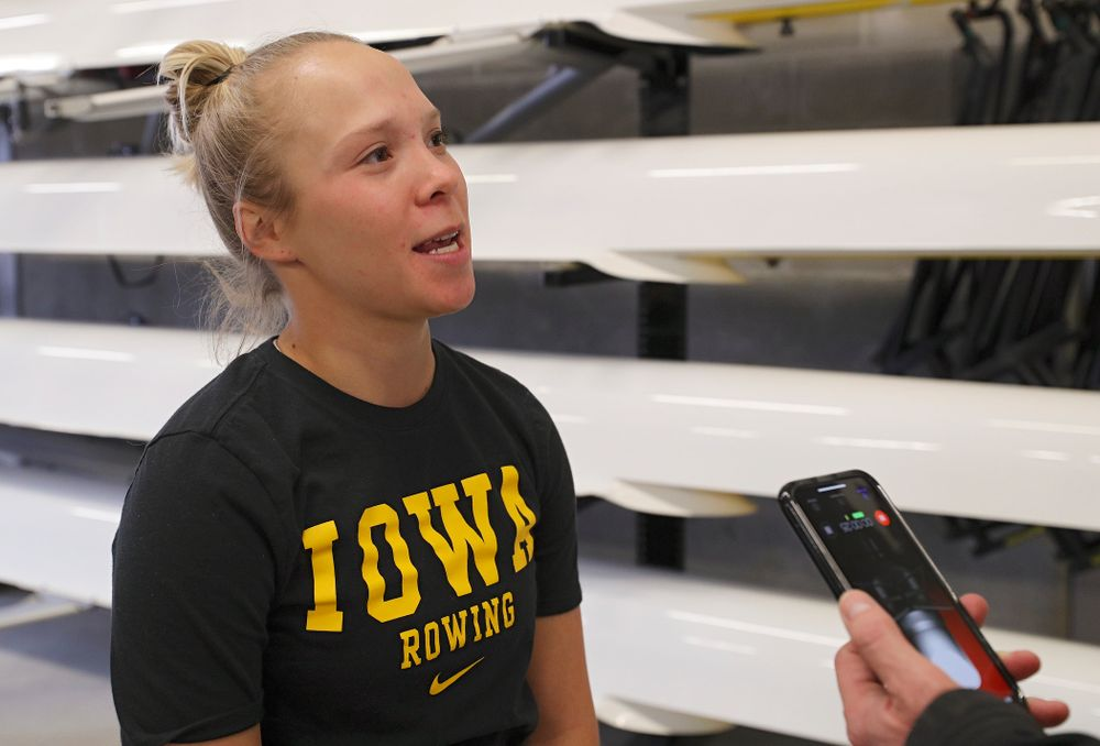 Iowa's Logan Jones answers a question during media availability at the P. Sue Beckwith, M.D., Boathouse in Iowa City on Wednesday, Apr. 10, 2019. (Stephen Mally/hawkeyesports.com)