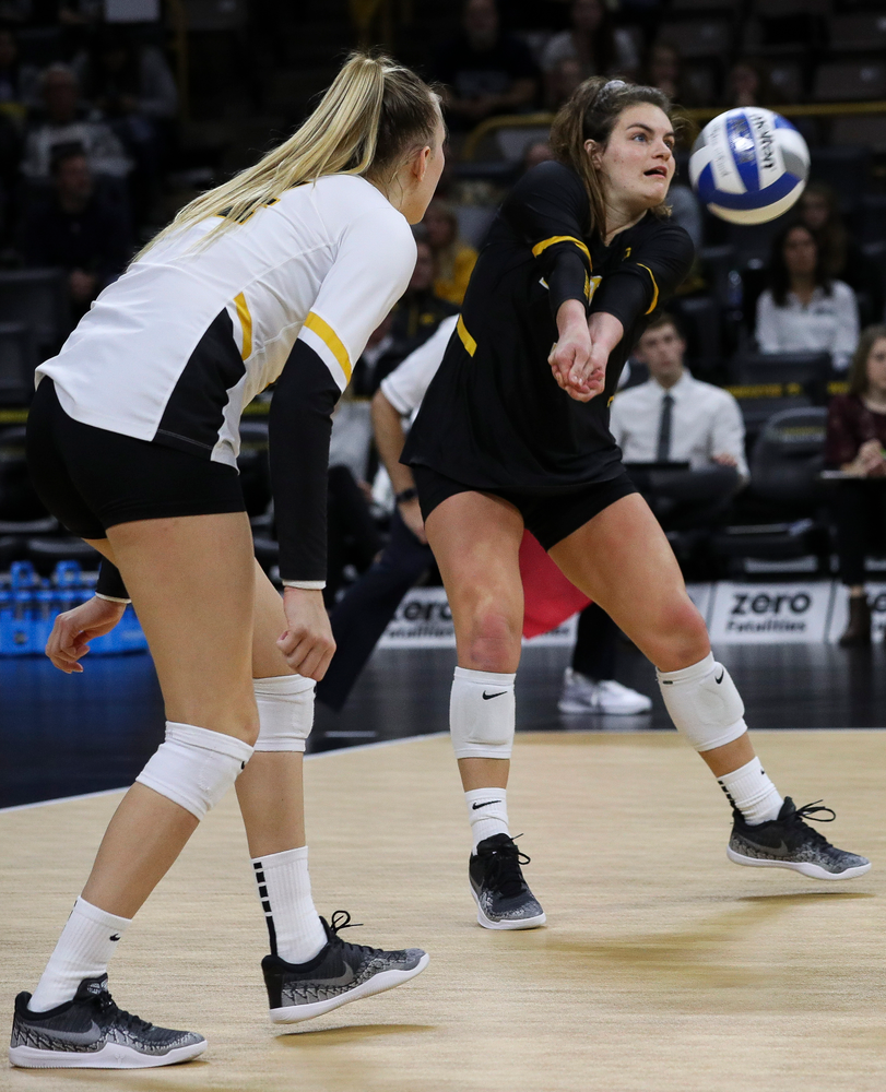 Iowa Hawkeyes defensive specialist Molly Kelly (1) bumps the ball during a match against Penn State at Carver-Hawkeye Arena on November 3, 2018. (Tork Mason/hawkeyesports.com)