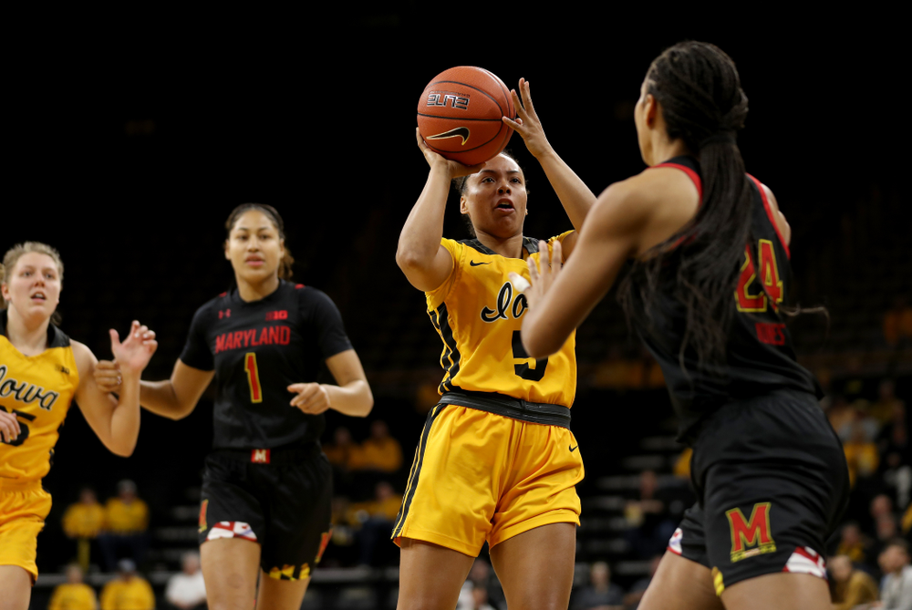 Iowa Hawkeyes guard Alexis Sevillian (5) against the Maryland Terrapins Thursday, January 9, 2020 at Carver-Hawkeye Arena. (Brian Ray/hawkeyesports.com)