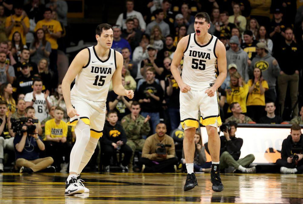 Iowa Hawkeyes forward Luka Garza (55) and forward Ryan Kriener (15) against Penn State Saturday, February 29, 2020 at Carver-Hawkeye Arena. (Brian Ray/hawkeyesports.com)