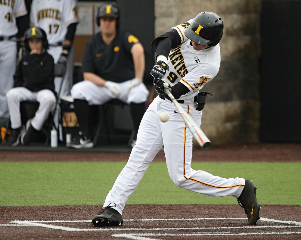 Iowa outfielder Ben Norman (9) bats during the fifth inning of their college baseball game at Duane Banks Field in Iowa City on Wednesday, March 11, 2020. (Stephen Mally/hawkeyesports.com)