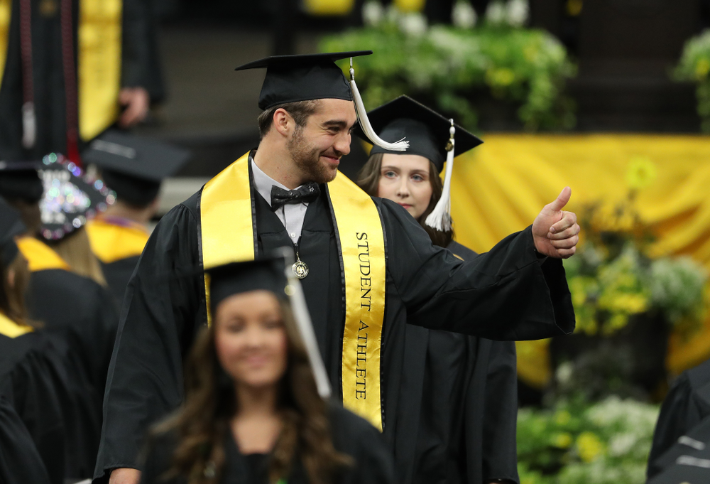 Hawkeye FootballÕs Garret Jansen during the College of Liberal Arts and Sciences spring commencement Saturday, May 11, 2019 at Carver-Hawkeye Arena. (Brian Ray/hawkeyesports.com)