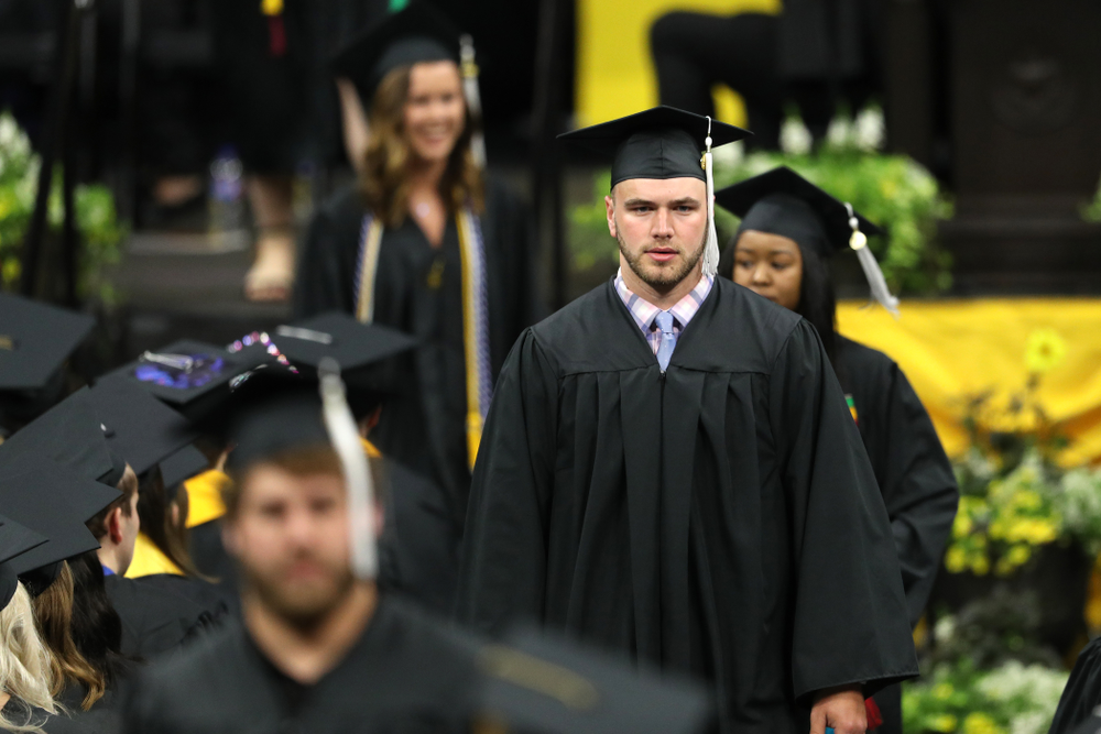 Hawkeye FootballÕs Colten Rastetter during the College of Liberal Arts and Sciences spring commencement Saturday, May 11, 2019 at Carver-Hawkeye Arena. (Brian Ray/hawkeyesports.com)