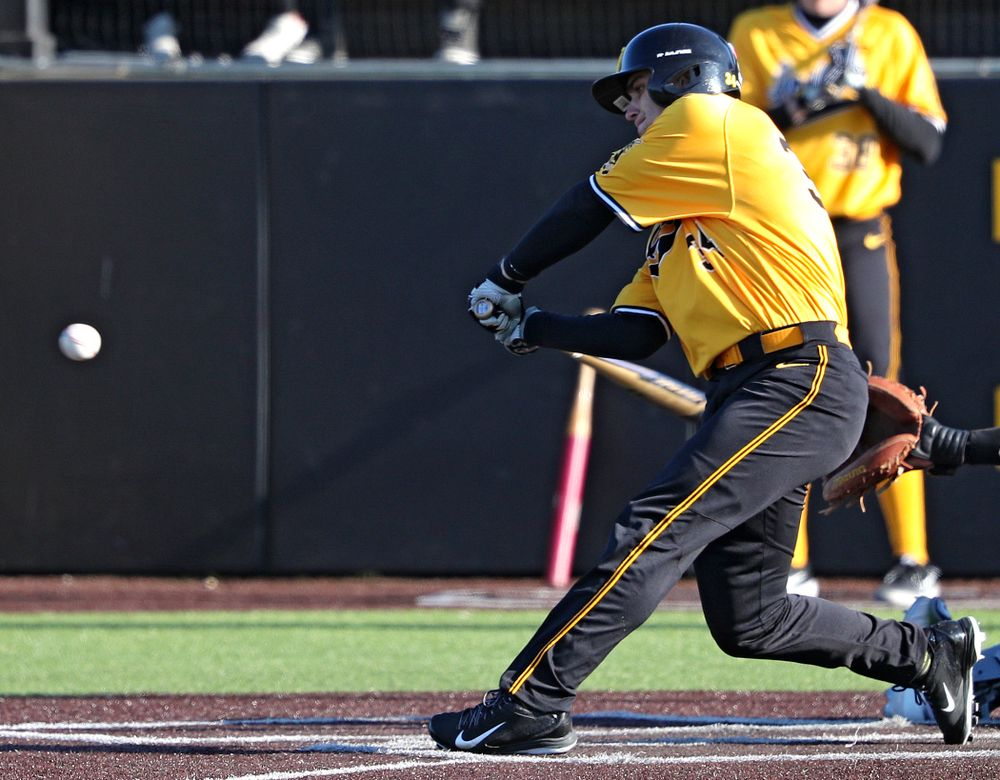 Iowa Hawkeyes designated hitter Austin Martin (34) drives a pitch for a hit during the fifth inning of their game at Duane Banks Field in Iowa City on Tuesday, Apr. 2, 2019. (Stephen Mally/hawkeyesports.com)