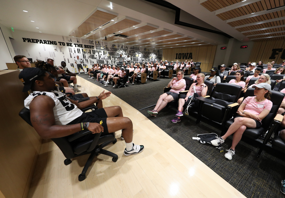 Iowa Hawkeyes defensive end Chauncey Golston (57) answers a question during a player panel at the 2019 Iowa Ladies Football Academy Saturday, June 8, 2019 at the Hansen Football Performance Center. (Brian Ray/hawkeyesports.com)