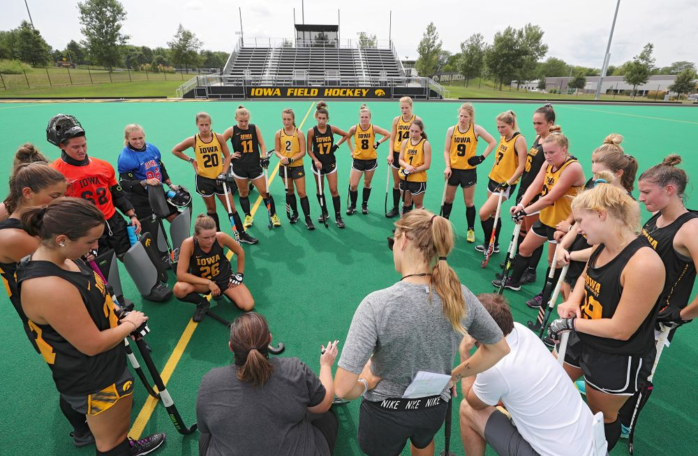 Iowa head coach Lisa Cellucci talks with her team during practice at Grant Field in Iowa City on Thursday, Aug 15, 2019. (Stephen Mally/hawkeyesports.com)