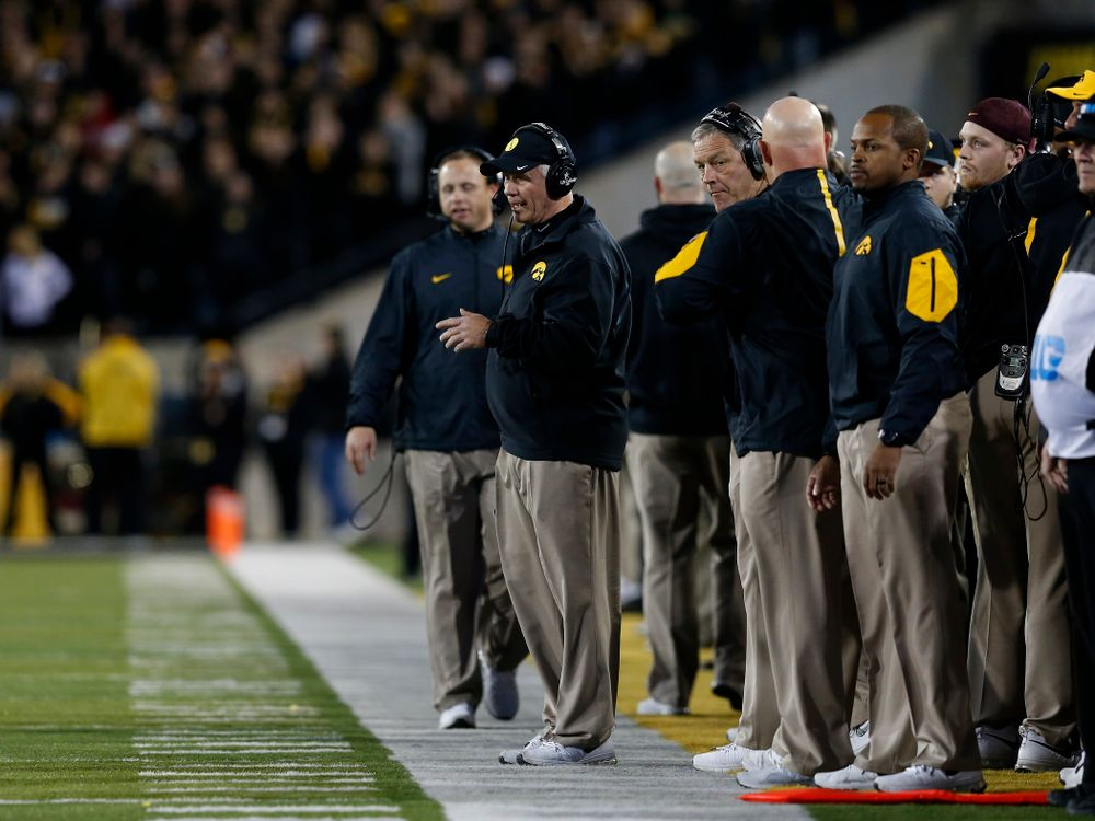 Iowa Hawkeyes defensive line coach Reese Morgan works the sideline during the second half against the Minnesota Golden Gophers Saturday, November 14, 2015 at Kinnick Stadium. (Brian Ray/hawkeyesports.com)