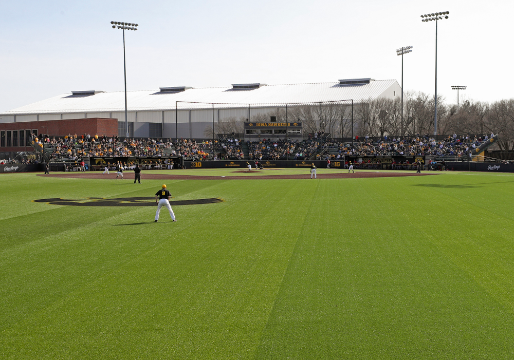 Fans look on as the Iowa Hawkeyes field during the eighth inning of their game against Rutgers at Duane Banks Field in Iowa City on Saturday, Apr. 6, 2019. (Stephen Mally/hawkeyesports.com)