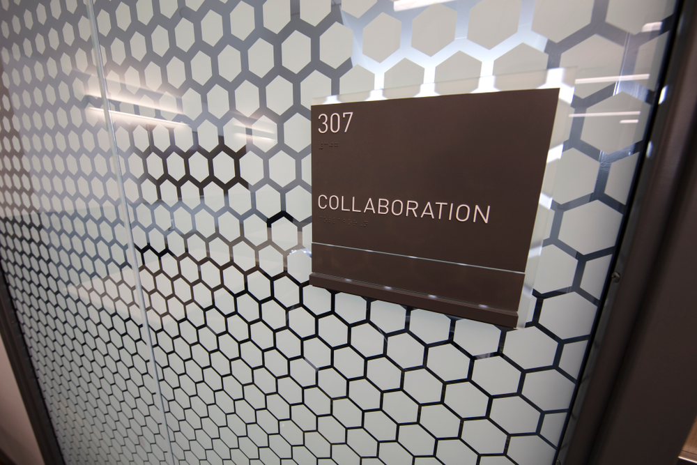 A collaboration room Thursday, April 5, 2018 at the renovated Gerdin Athletic Learning Center. (Brian Ray/hawkeyesports.com)