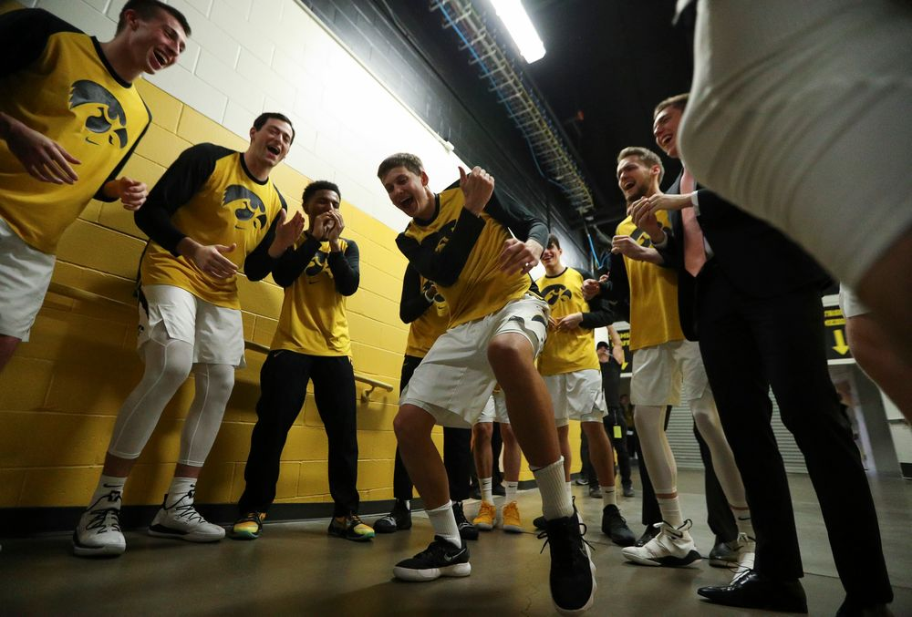 Iowa Hawkeyes guard Austin Ash (13) breaks down the pregame huddle in the tunnel before a game against Alabama State at Carver-Hawkeye Arena on November 21, 2018. (Tork Mason/hawkeyesports.com)