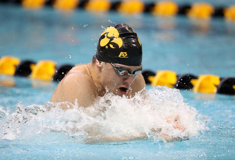 Iowa's Caleb Babb swims the breaststroke leg of the 200 yard medley relay during a double dual against Wisconsin and Northwestern Saturday, January 19, 2019 at the Campus Recreation and Wellness Center. (Brian Ray/hawkeyesports.com)