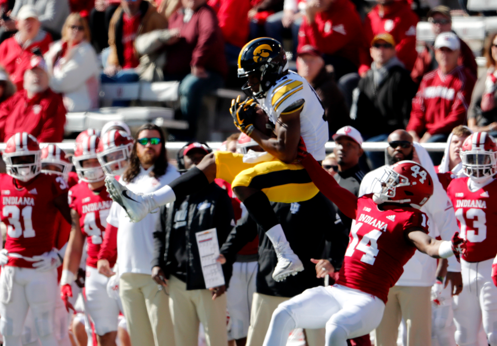 defensive back D.J. Johnson (12) The Iowa Hawkeyes arrive for their game against the Indiana Hoosiers Saturday, October 13, 2018 at Memorial Stadium, in Bloomington, Ind. (Brian Ray/hawkeyesports.com)