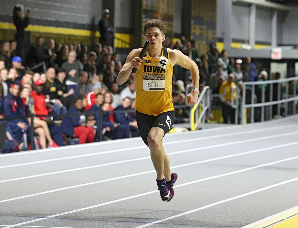 Iowa's Alec Still runs the men's 1600 meter relay premier event during the Larry Wieczorek Invitational at the Recreation Building in Iowa City on Saturday, January 18, 2020. (Stephen Mally/hawkeyesports.com)