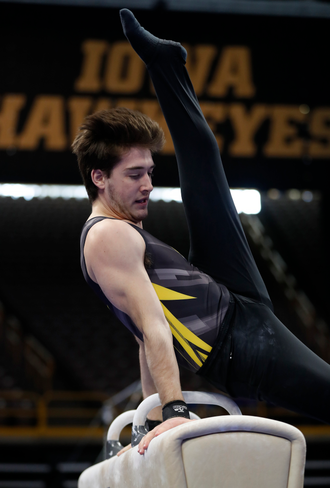 Kevin Johnson competes on the pommel horse  against Minnesota and Air Force