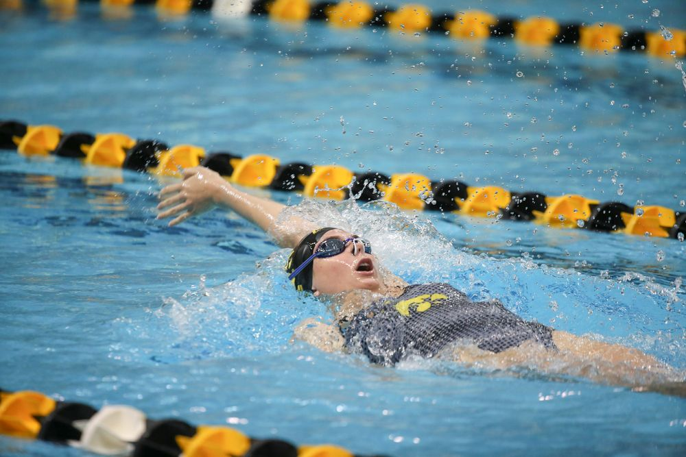 Iowa's Anna Brooker swims the 200-yard backstroke during the Iowa swimming and diving meet vs Notre Dame and Illinois on Saturday, January 11, 2020 at the Campus Recreation and Wellness Center. (Lily Smith/hawkeyesports.com)