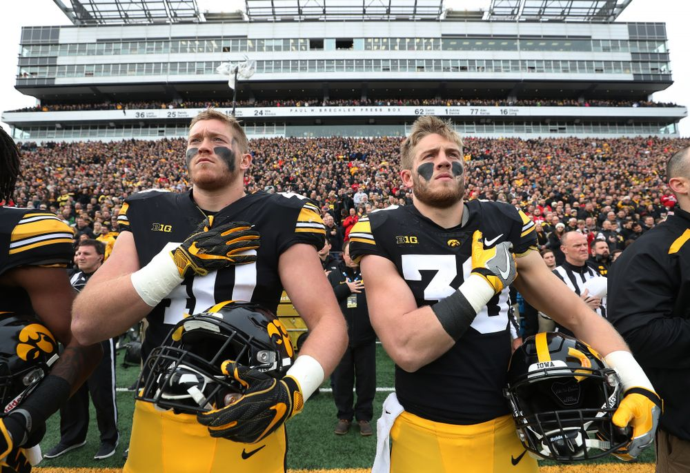 Iowa Hawkeyes defensive end Parker Hesse (40) and defensive back Jake Gervase (30) before their game against the Nebraska Cornhuskers Friday, November 23, 2018 at Kinnick Stadium. (Brian Ray/hawkeyesports.com)