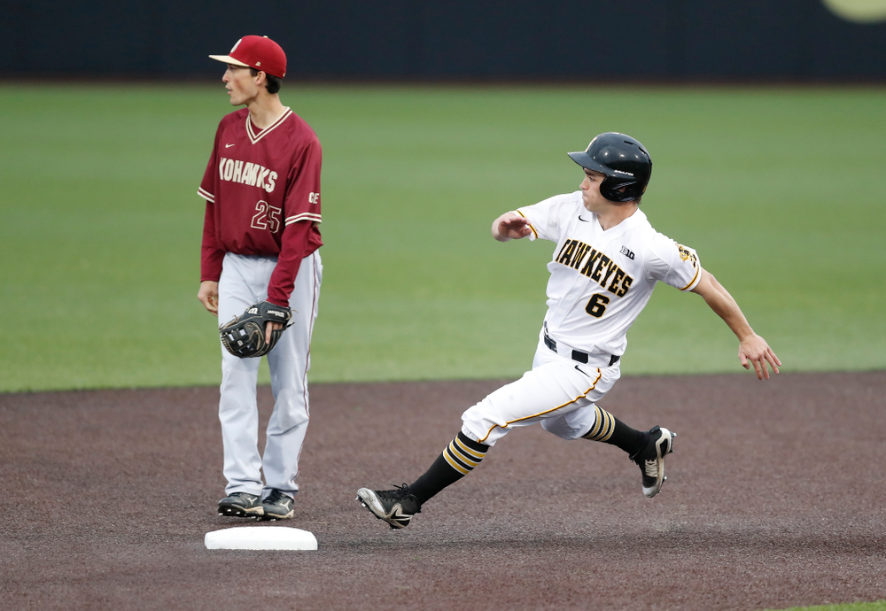 Iowa Hawkeyes outfielder Justin Jenkins (6) against Coe College Wednesday, April 11, 2018 at Duane Banks Field. (Brian Ray/hawkeyesports.com)