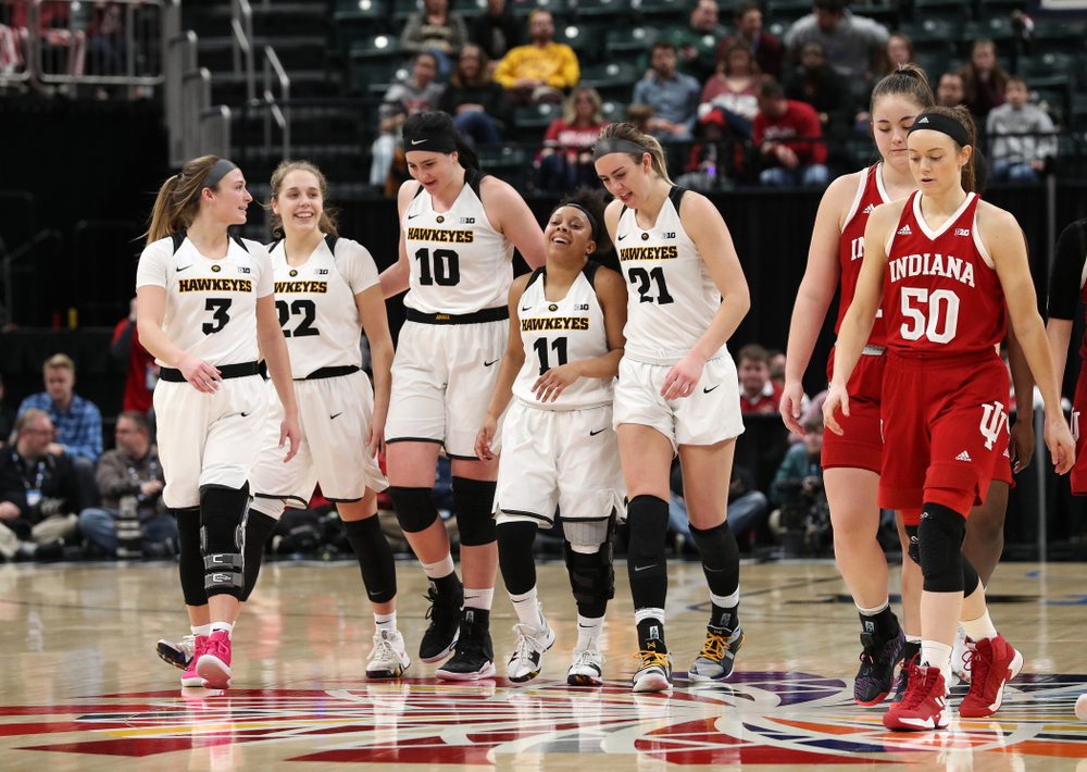 Iowa Hawkeyes guard Makenzie Meyer (3), guard Kathleen Doyle (22), forward Megan Gustafson (10), guard Tania Davis (11), forward Hannah Stewart (21) against the Indiana Hoosiers in the quarterfinals of the Big Ten Tournament Friday, March 8, 2019 at Bankers Life Fieldhouse in Indianapolis, Ind. (Brian Ray/hawkeyesports.com)