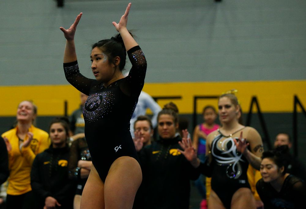 Nicole Chow competes in the floor exercise during the Black and Gold Intrasquad meet at the Field House on 12/2/17. (Tork Mason/hawkeyesports.com)