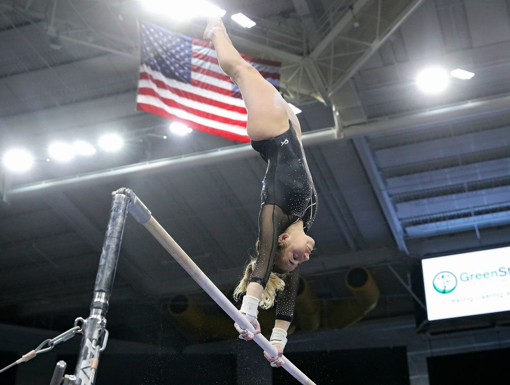 Iowa's Alex Greenwald competes on the bars during their meet at Carver-Hawkeye Arena in Iowa City on Sunday, March 8, 2020. (Stephen Mally/hawkeyesports.com)
