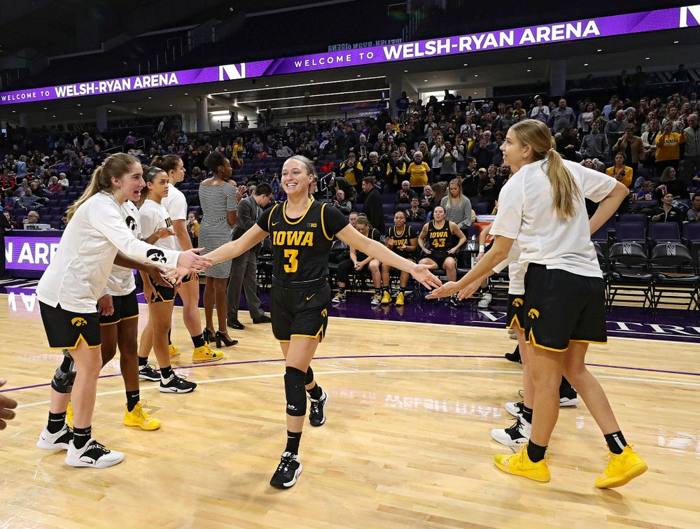Iowa Hawkeyes guard Makenzie Meyer (3) is introduced before their game at Welsh-Ryan Arena in Evanston, Ill. on Sunday, January 5, 2020. (Stephen Mally/hawkeyesports.com)