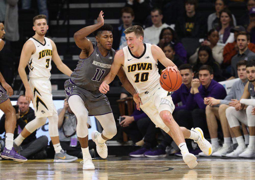 Iowa Hawkeyes guard Joe Wieskamp (10) against the Northwestern Wildcats Sunday, February 10, 2019 at Carver-Hawkeye Arena. (Brian Ray/hawkeyesports.com)