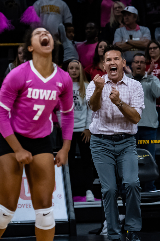 Iowa Hawkeyes head coach Bond Shymansky against the Wisconsin Badgers Saturday, October 6, 2018 at Carver-Hawkeye Arena. (Clem Messerli/Iowa Sports Pictures)