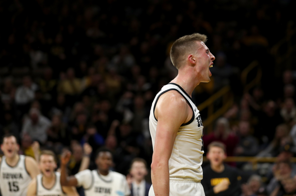 Iowa Hawkeyes guard Joe Wieskamp (10) celebrates after making a basket and drawing a foul against the Maryland Terrapins Friday, January 10, 2020 at Carver-Hawkeye Arena. (Brian Ray/hawkeyesports.com)