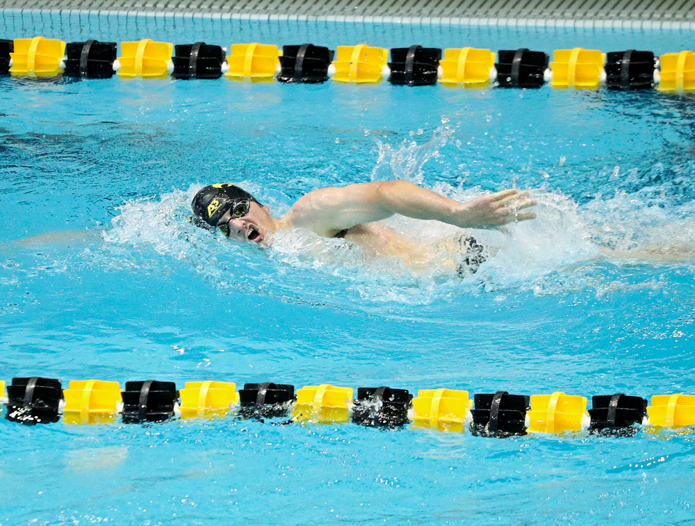 Iowa's Tom Schab swims the men's 1000-yard freestyle event during their meet against Michigan State and Northern Iowa at the Campus Recreation and Wellness Center in Iowa City on Friday, Oct 4, 2019. (Stephen Mally/hawkeyesports.com)
