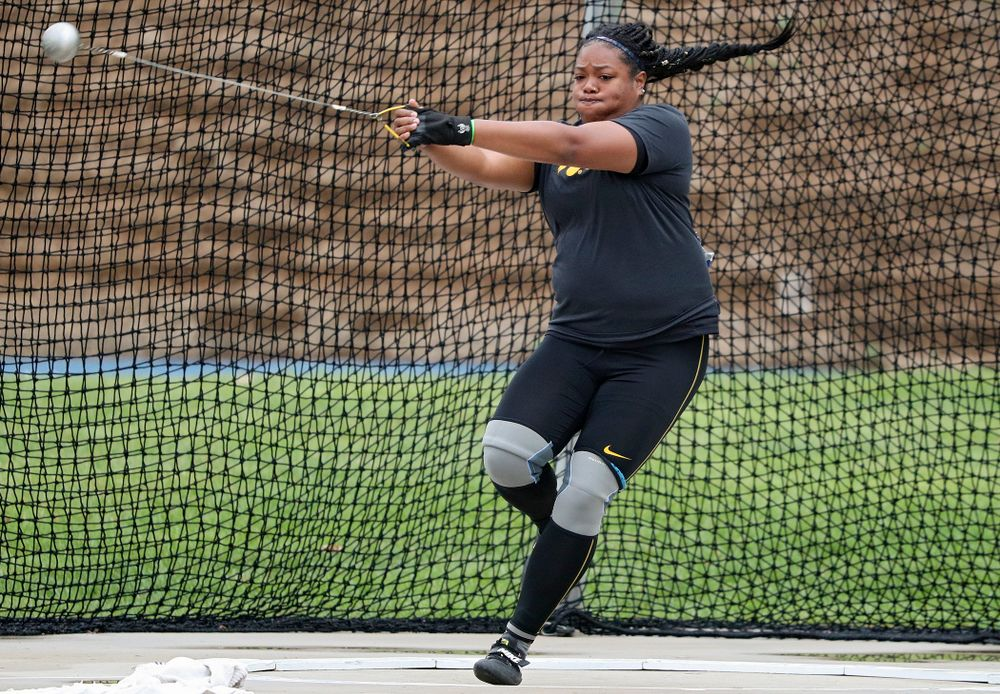 Iowa's Laulauga Tausaga throws during the women's hammer event during the third day of the Drake Relays at Drake Stadium in Des Moines on Saturday, Apr. 27, 2019. (Stephen Mally/hawkeyesports.com)