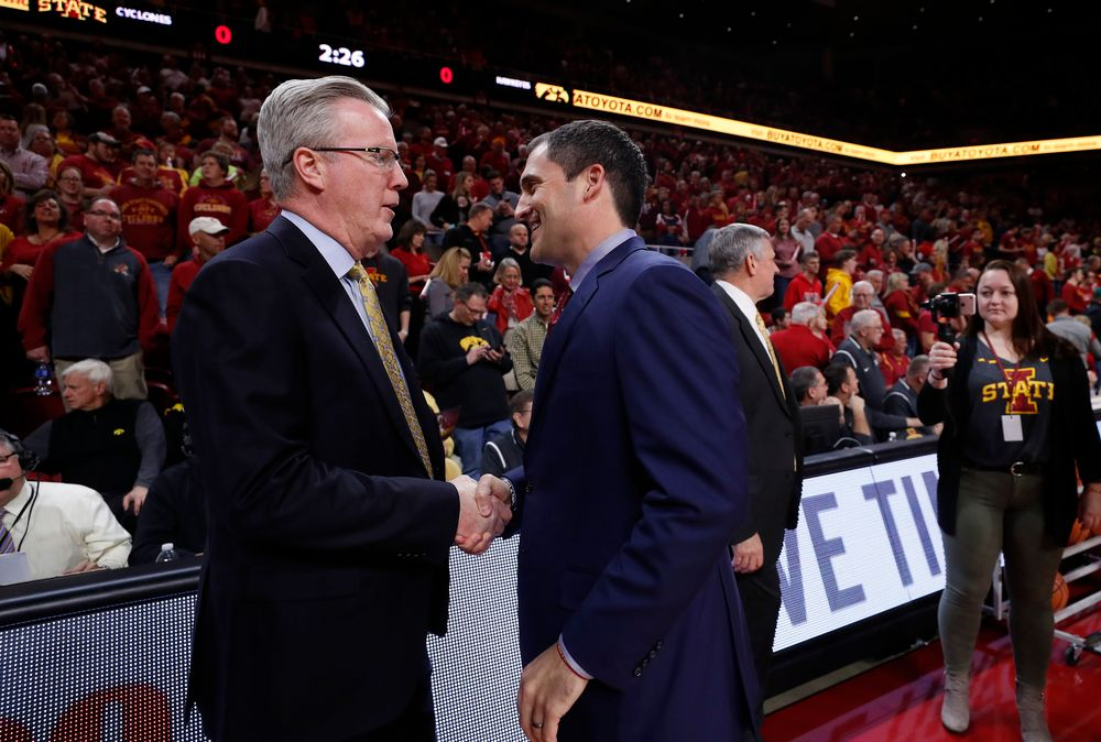 Iowa Hawkeyes head coach Fran McCaffery and Iowa State Cyclones head coach Steve Prohm
