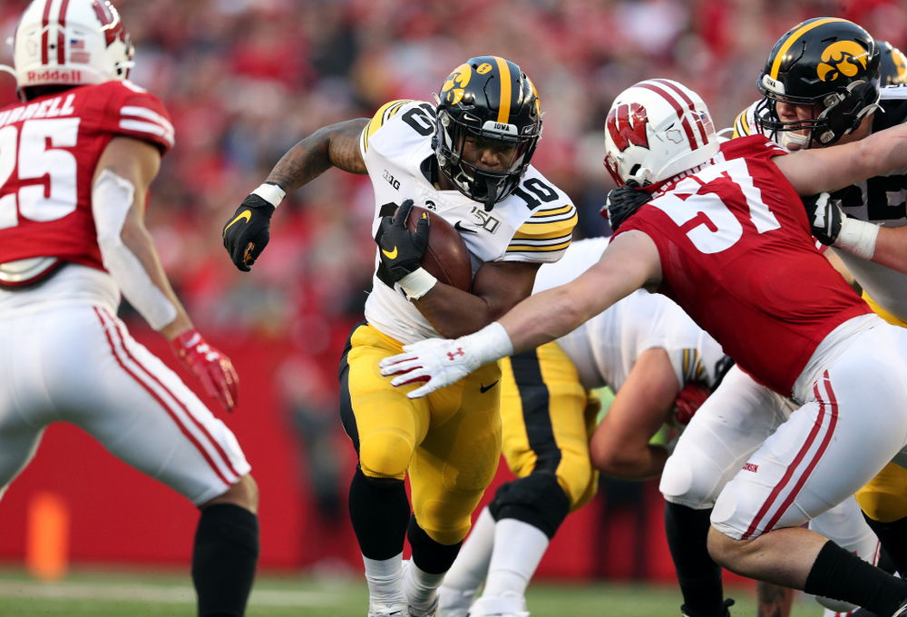 Iowa Hawkeyes running back Mekhi Sargent (10) against the Wisconsin Badgers Saturday, November 9, 2019 at Camp Randall Stadium in Madison, Wisc. (Brian Ray/hawkeyesports.com)