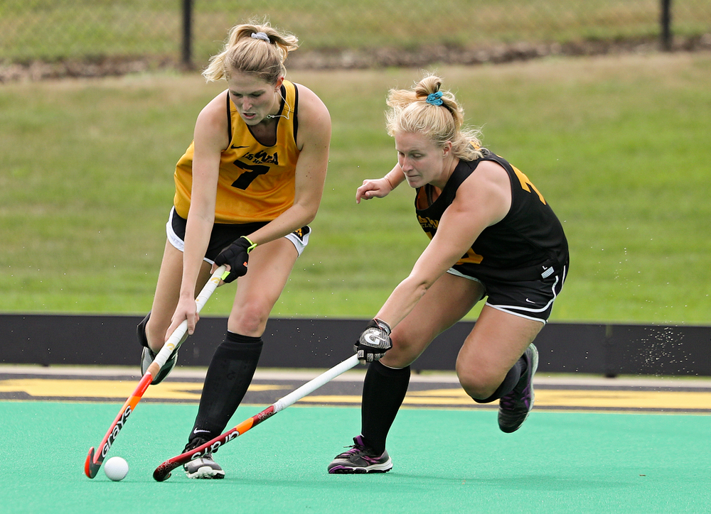 Iowa's Ellie Holley (7) and Ryley Miller (19) during practice at Grant Field in Iowa City on Thursday, Aug 15, 2019. (Stephen Mally/hawkeyesports.com)