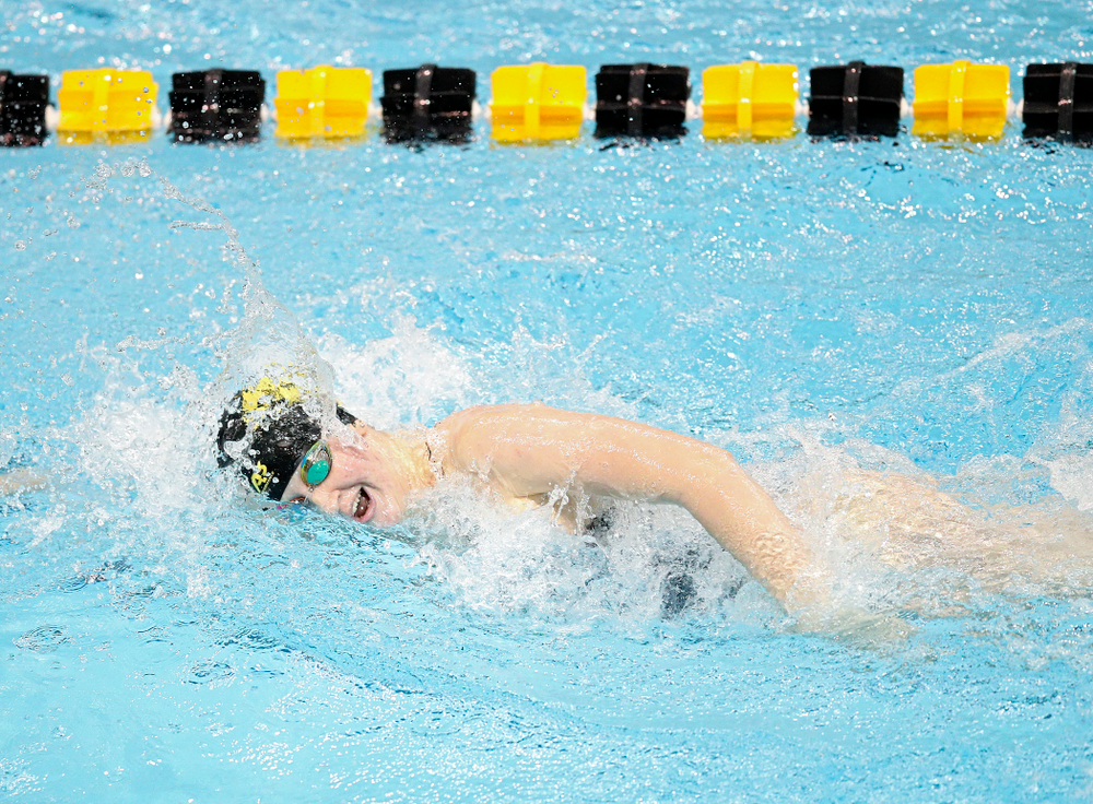 Iowa's Erin Lang swims the women's 200 yard freestyle event during their meet at the Campus Recreation and Wellness Center in Iowa City on Friday, February 7, 2020. (Stephen Mally/hawkeyesports.com)