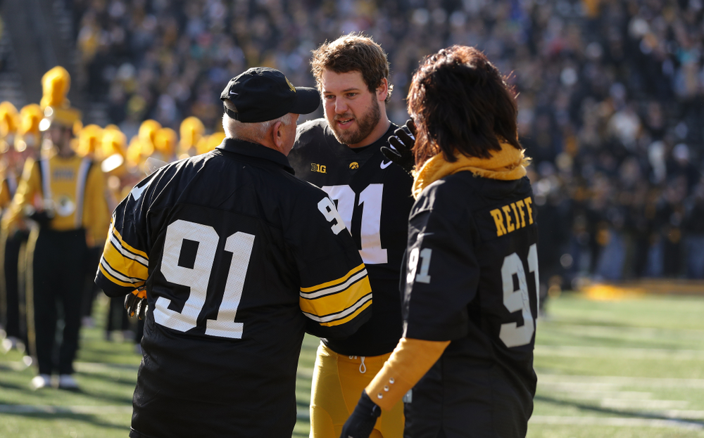 Iowa Hawkeyes defensive lineman Brady Reiff (91) during Senior Day festivities before their game against the Illinois Fighting Illini Saturday, November 23, 2019 at Kinnick Stadium. (Brian Ray/hawkeyesports.com)