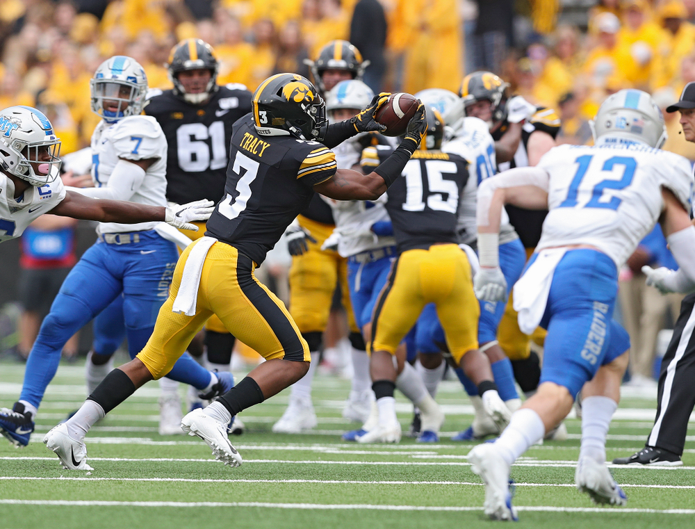 Iowa Hawkeyes wide receiver Tyrone Tracy Jr. (3) pulls in a pass during third quarter of their game at Kinnick Stadium in Iowa City on Saturday, Sep 28, 2019. (Stephen Mally/hawkeyesports.com)