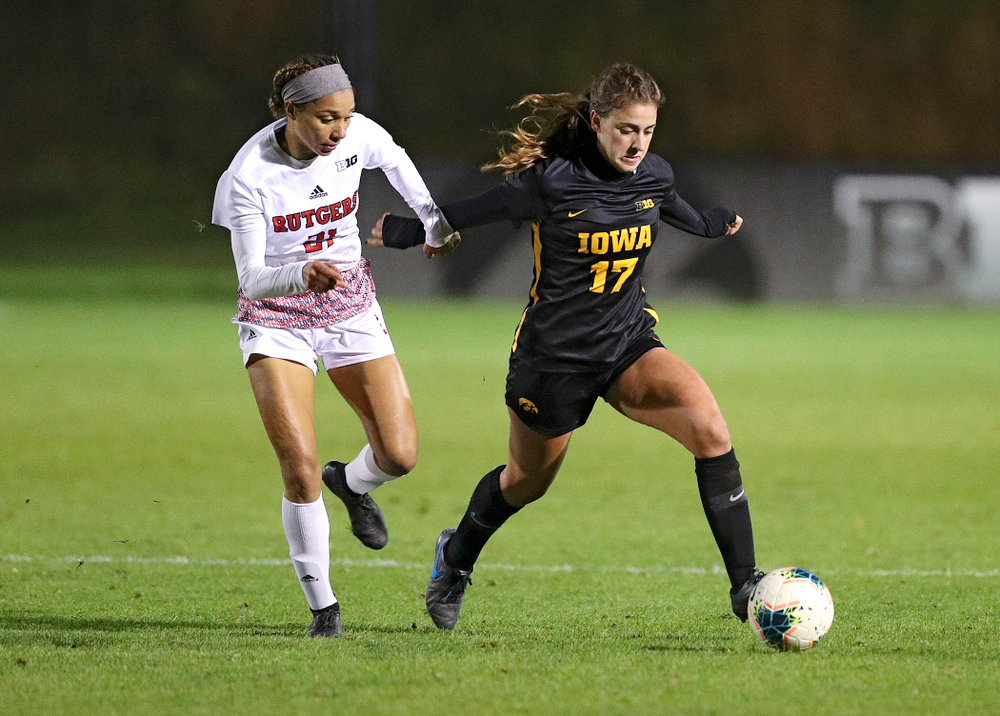 Iowa defender Hannah Drkulec (17) moves with the ball during the second half of their match at the Iowa Soccer Complex in Iowa City on Friday, Oct 11, 2019. (Stephen Mally/hawkeyesports.com)